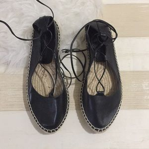 Zara leather lace up black espadrilles